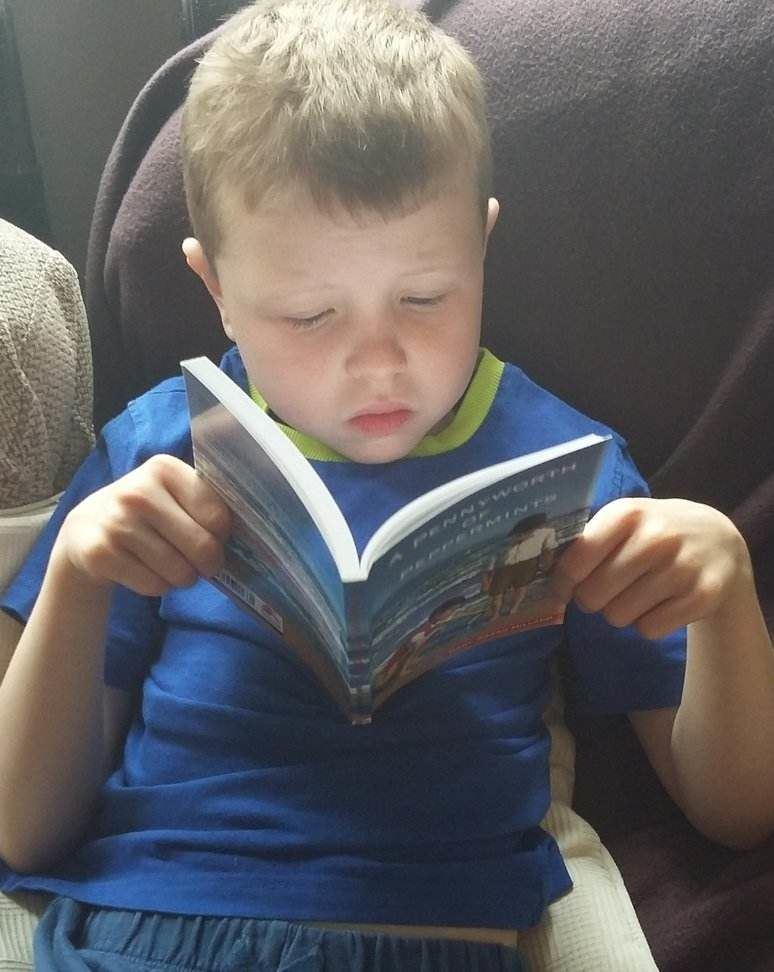Boy reading A Pennyworth of Peppermints